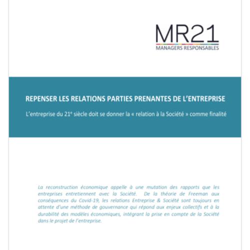 """Rapport MR21 : """"Repenser les relations parties prenantes de l'entreprise"""""""